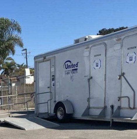 A temporary portable bathroom was placed in the 600s to compensate for the closure of the permanent bathrooms.