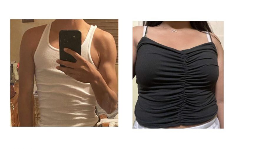 On the left, John* was wearing a white tank top and was not dress coded during the school day. On the right, Jane was wearing her black tank top before being dress coded.