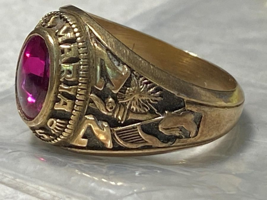 This class ring, along with another, is now back with its original ower, who lost it back in 1977, a few short months after receiving it.